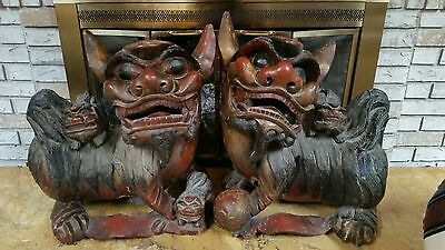Fine Large Pair Of Antique Chinese Carved Hardwood Guardian Foo Lion Statues Shi