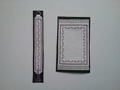 Hand embroidered miniature rug and bell pull set