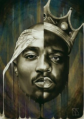 Notorious B.I.G Biggie Smalls Tupac Shakur Art Silk Poster Wall Decor 24x36inch