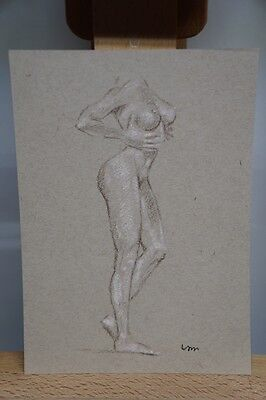 ORIGINAL  NUDE FEMALE  FIGURE  5x7 FINE ART PASTEL DRAWING PAINTING
