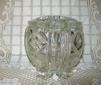 VINTAGE FOOTED CLEAR GLASS VASE 11cm with frog lid