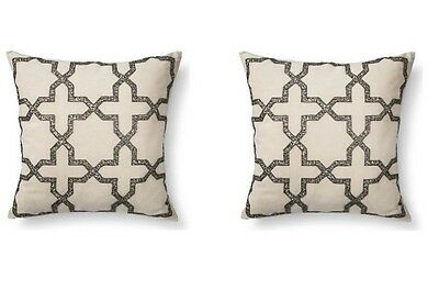 "LOT OF 2 ENVOGUE - PERSIAN STAR BEADED TOSS THROW ACCENT PILLOWS - 20"" X 20"" Ea"