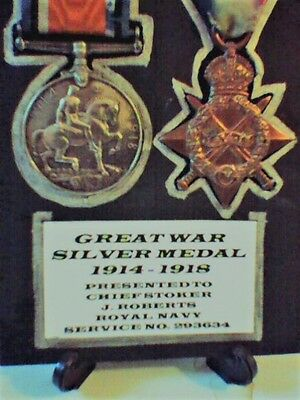 Ww1 1914-1918 Silver And Star Medals  Royal Navy- Chief Stoker