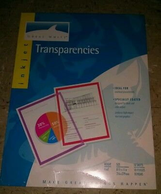 Great White Transparencies Ink Jet Printer Overhead transparency film paper