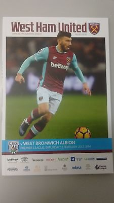west ham united v west bromwich albion programme february 2017