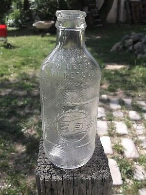 Vintage 60's Rare Embossed PEPSI COLA Clear Throwaway Bottle- Canada