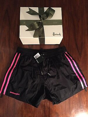 DSQUARED2 Men's Black/Pink Shorts with Side Zip Size M