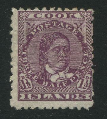 Cook Islands: 1902 Queen Makea Takau 1½d stamp dp mauve - Perf 11 SG30 MM QQ239