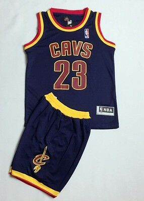Kids Basketball Jersey NBA Cleveland Cavaliers  Le Bron James #23 New Top+Shorts