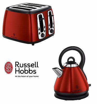 Russell Hobbs Heritage 4-Slice Toaster And Kettle Set In Metallic Red