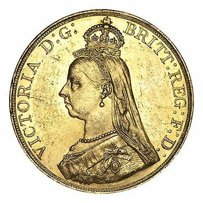 Great Britain Victoria Gold Coin 1887 Gold 5 Pounds