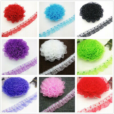 New Hot 25MM 45MM 1/3/5yards 2-Layer Organza Lace Gathered Pleated Sequined Trim