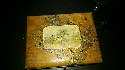 vintage wooden box with bakerlite ink well