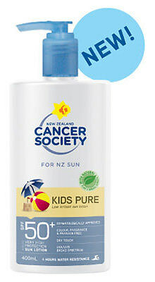 Cancer Society Kids Pure Lotion Sunscreen Pump Bottle SPF 50 400ml