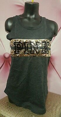 Victorias Secret PINK Gray Gold Sequin BLING Campus Tee Tank Top Shirt S