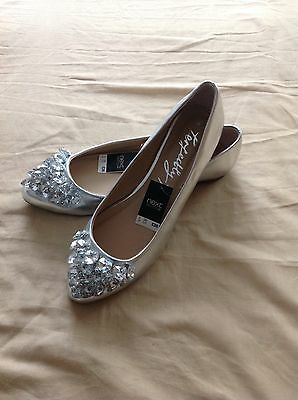 Brand New Size 5 Next Flat Silver Shoes