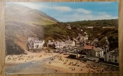 Vintage Real Photograph postcard, The Beach, Llangrannog, Wales, Colourmaster