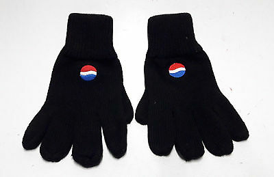 Pepsi Cola Winter Gloves Black Embroidered Logo Advertising Promo New Cyprus