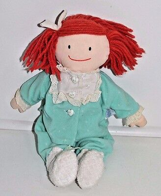 Eden Madeline Blue Terry Cloth Outfit Yarn Rag Doll Plush Stuffed Animal 12""