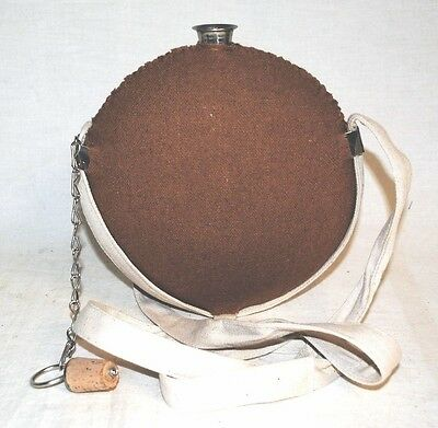 """Canteen Large """"Smooth Side"""" Stainless Steel - Butternut Wool Cover - Civil War"""