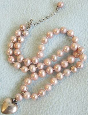 Beautiful PINK Genuine Freshwater PEARL Bead NECKLACE - With Heart Pendant