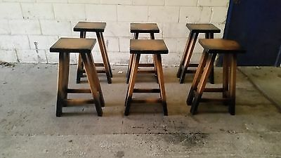 Vintage Pub /kitchen  Stools X 6 / Bar / Man Cave / Shabby Chic Can Deliver (13)