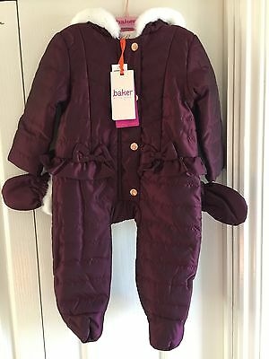 TED BAKER BABY Girl's SNOW SUIT With Mittens. AGE 6-9 MONTHS. BNWT. Designer