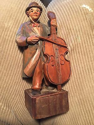 Antique German Hand Carved And Painted Wood Figure Of Cello Player