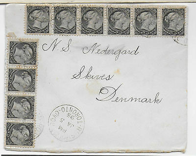 CANADA 1897 cover to Denmark with10 x ½c black QV adhesives, ex Toronto