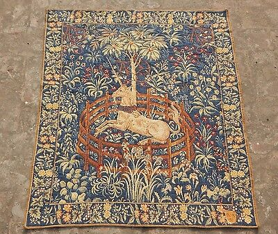 Vintage French Beautiful Medieval Unicorn Scene Tapestry 97X83cm (A1133)