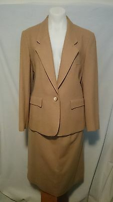 Evan Picone Saks of 5th Ave.NY Ladies Vintage Suit in Camel Pure Wool Size 14