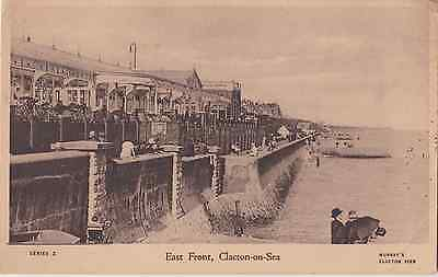 Old postcard of East Front at Clacton on sea
