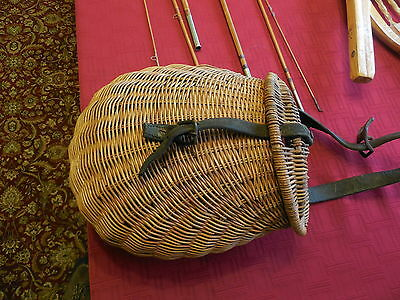Vintage Hand Made Wicker Fishing Creel