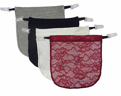 4 Pack Modesty Panel Insert With Garter Clip on Cami Panels  Various Color Set A