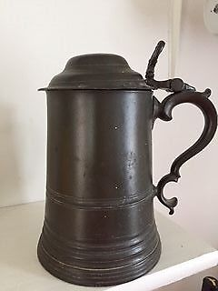 victorian  2 pint  glass bottomed pewter tankard with lid