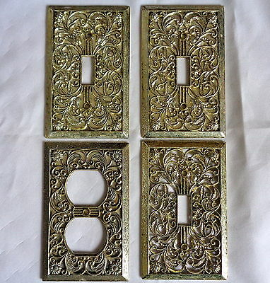Vintage Lot Brass Filagree Hollywood Regency Light Switch Plate Outlet Covers