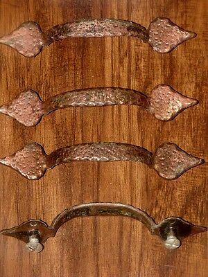 Vtg Antique Hammered Copper Colonial Cabinet Door Handle Pull Lot Canada Ch 1414