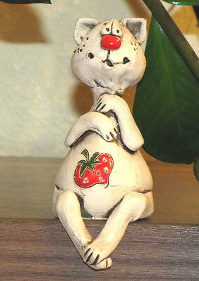 CAT Nice Hand Made Ceramic Gift Sitting with Strawberry Funny Figurine