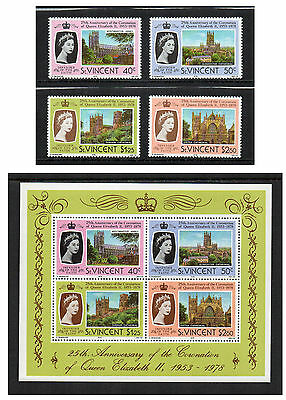 St. Vincent - 25th Anniversary of Coronation of QEII (1978) Set & Mini-Sheet