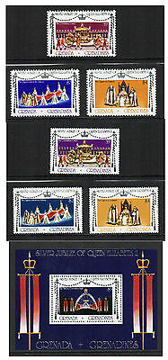 Grenada Grenadines - Queen Elizabeth II Silver Jubilee (1977) Both Sets & M/S