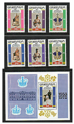 Grenada - 25th Anniversary of Coronation of QEII (1978) Both Sets & Mini-Sheet