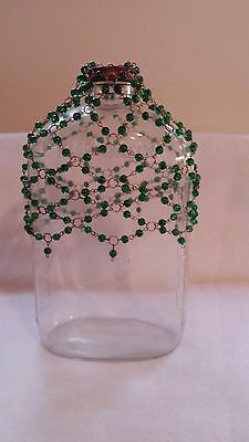 Antique/Vintage Glass Clear Half Gallon Jug With Green Beads Decor GrapeLeaf