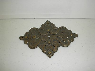 Old Cast Brass Door Knob Handle Plate Art Nouveau Estate Find Vintage