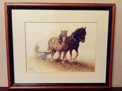 Signed Limited Edition Print - Heavy Horses Shire Ploughing - Framed
