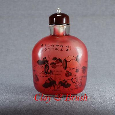 Chinese antique glass snuff bottle inside painted signed Xue Shaofu 薛少甫 dated