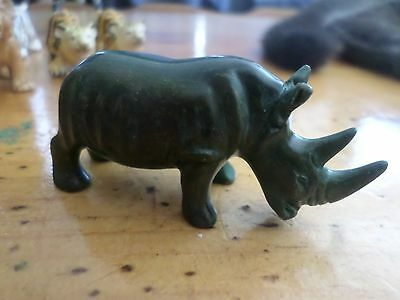 Green Onyx Rhino Rhinoceros carved Statue 3 inch long