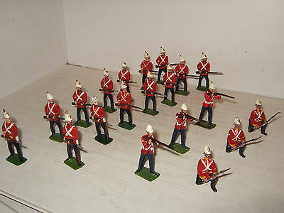 Rare Vintage 20 Piece, Britains Infantry of the Line at the Ready, White Helmets