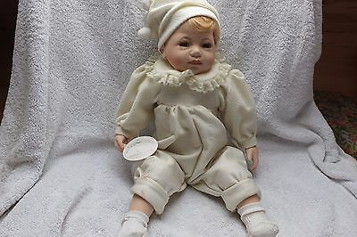 Knightsbridge Boxed Collectors Porcelain Doll - Baby In Yellow 21 Inches Tall