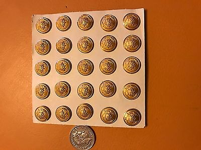 25 Gold coloured Metal Military Style Buttons