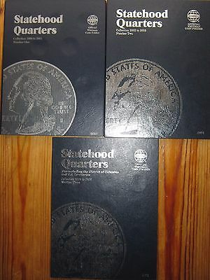 3x Whitman coin folders USA State Quarters 1999 to 2009 all complete - 110 coins